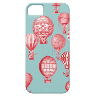 Hot Air Balloons in Flight, Red on Robins Egg Blue iPhone 5 Cases