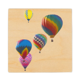 Hot Air Balloons Maple Wood Coaster