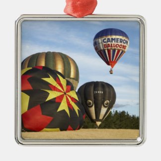 Hot Air Balloons near Wanaka, South Island, New Silver-Colored Square Decoration