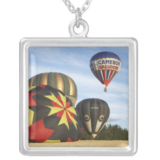 Hot Air Balloons near Wanaka, South Island, New Square Pendant Necklace