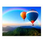 Hot Air Balloons Over Mountains Rainbow Postcard