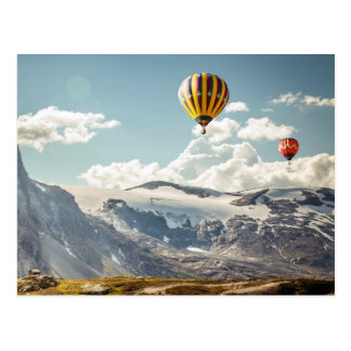 Hot Air Balloons over Snowy Mountains Postcard