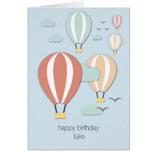 Hot Air Balloons Papercut Style Card