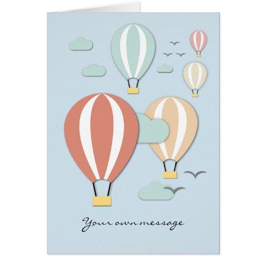 Hot Air Balloons Papercut Style Card