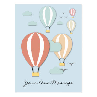 Hot Air Balloons Papercut Style Postcard