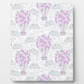 Hot air balloons purple pink nursery decor line plaque
