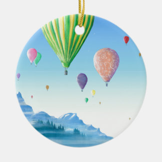 Hot Air Balloons Round Ceramic Decoration