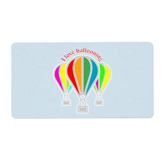Hot air balloons shipping label
