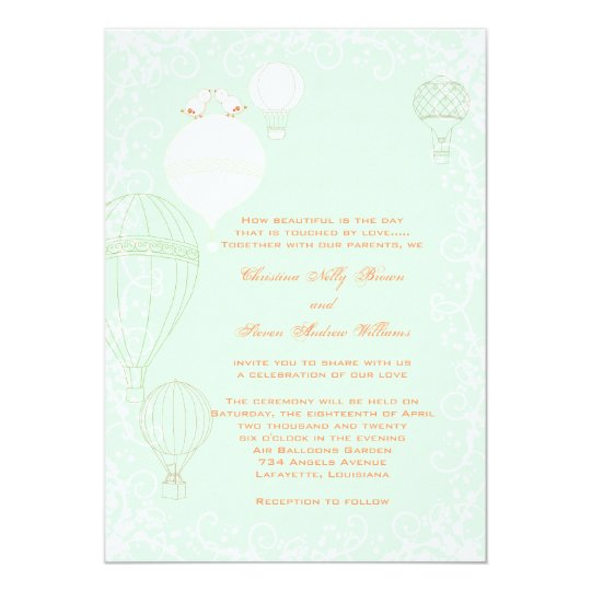 Hot Air Balloons Spring Mint Green Wedding Card