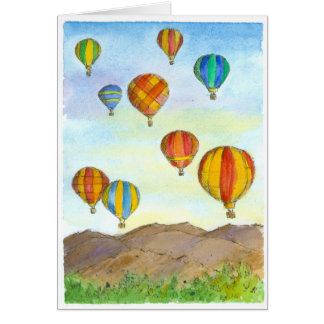 Hot Air Balloons Sunrise Mountains Happy Birthday Note Card