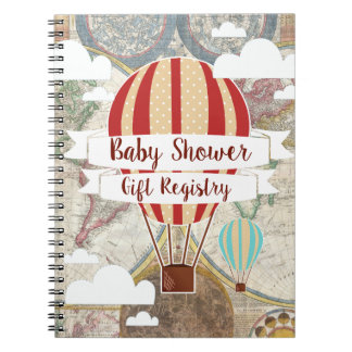 Hot Air Balloons Vintage Adventure Baby Shower Notebooks