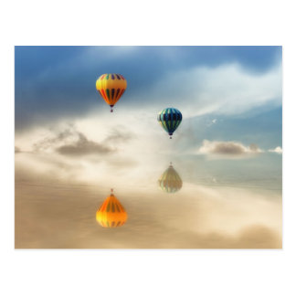 Hot Air Balloons Water Reflection Postcard
