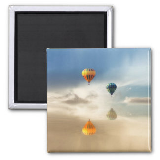 Hot Air Balloons Water Reflection Square Magnet