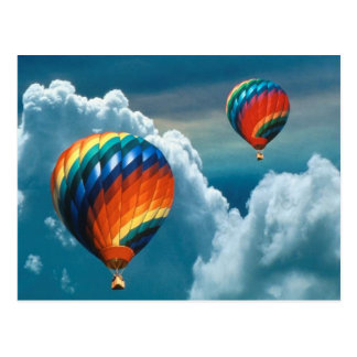 Hot Air Balloons With Dark Sky Postcard