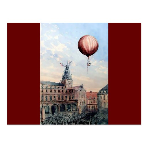Hot Air baloon old town people crowd painting Post Card