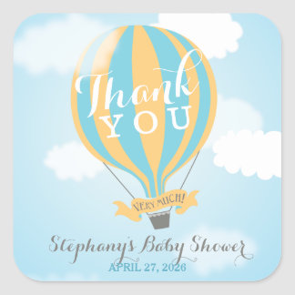Hot Air Blue Yellow Balloon Thank You Stickers