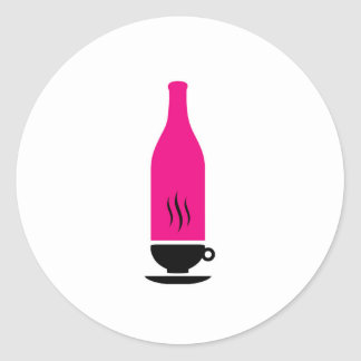 Hot and cold drink graphic round sticker