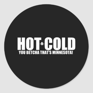 Hot and Cold MN Weather Round Sticker