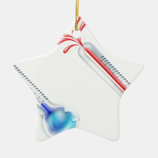 Hot and Cold Thermometer Icons Ceramic Star Decoration
