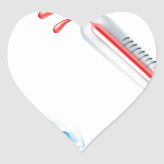 Hot and Cold Thermometer Icons Heart Sticker