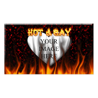 Hot and Gay fire and flames red marble Business Card Template