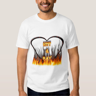 Hot and Gay fire and flames red marble T-shirts