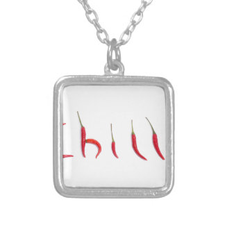 hot and spicy red chilies square pendant necklace