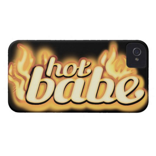 """hot babe"" gold flame & black barely iphone4S case iPhone 4 Case"