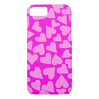 HOT BARBIE PINK WITH LIGHT HEARTS iPHONE 7/8 CASE
