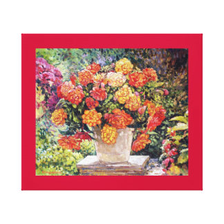 Hot Begonia Oil Painting Custom Wrapped Canvas Gallery Wrapped Canvas