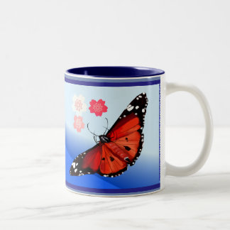 HOT BIG BRIGHT BUTTERFLY and Cherry Blossoms Two-Tone Coffee Mug