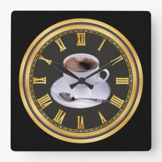 Hot Black coffee shop home office decor Square Wall Clock