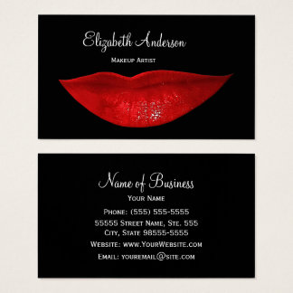 Hot Black Cosmetology Red Lips Makeup Artist Business Card