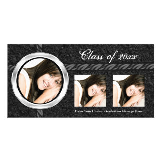 Hot Black Graduation Announcement Photo Card