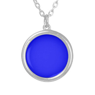 Hot Blue Small Round Silver Plated Necklace