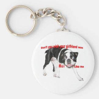 Hot Boston Terrier Basic Round Button Key Ring