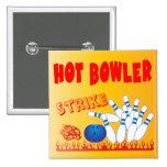 hot bowler design 15 cm square badge