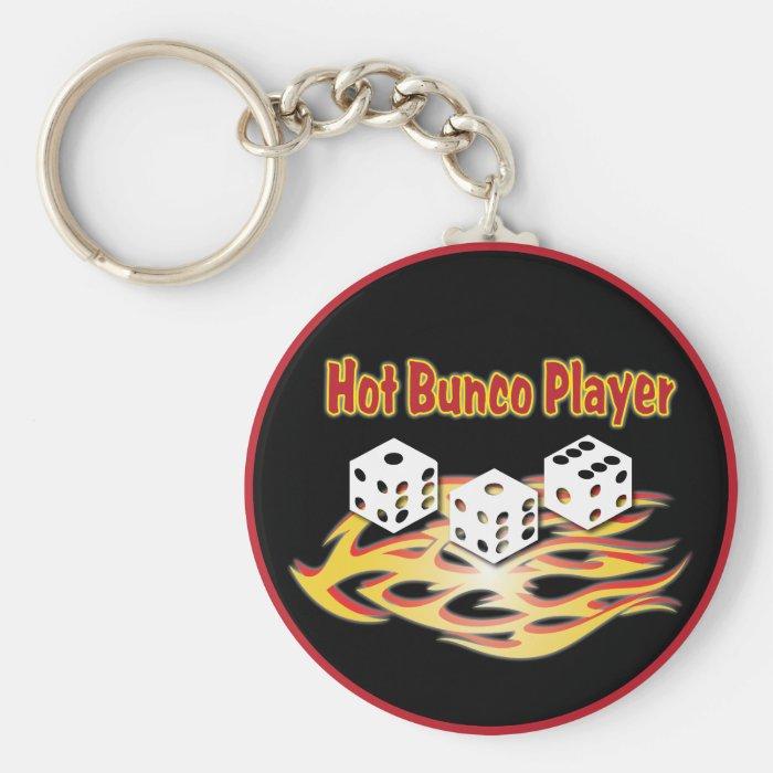 hot bunco player basic round button key ring