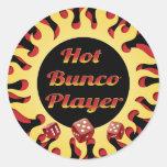 hot bunco player classic round sticker
