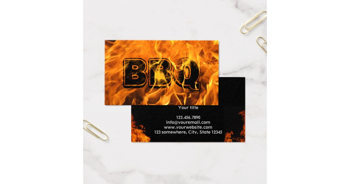Hot burning fire bbq business card zazzle for Bbq business cards