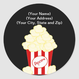 Hot Buttered Popcorn Movie Round Sticker