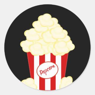 Hot Buttered Popcorn Movie Round Sticker