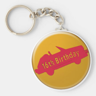 Hot Car 16th Birthday Gifts Basic Round Button Key Ring