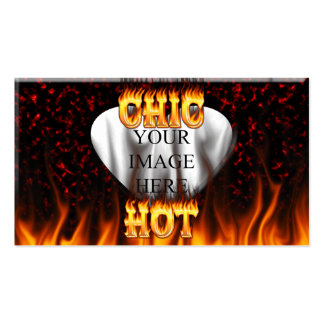 Hot Chic fire and red marble heart. Business Cards