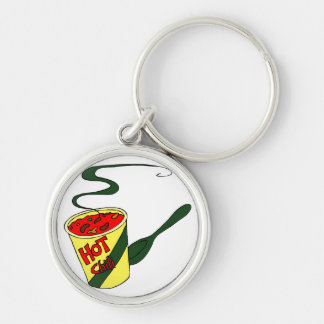 HOt chili cup with spoon graphic Silver-Colored Round Key Ring