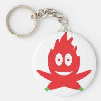 hot chili flame basic round button key ring