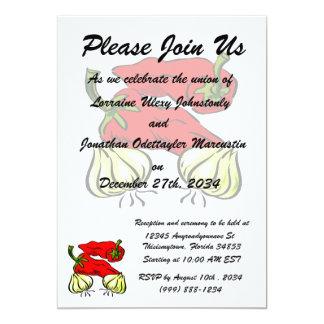 Hot Chili Pepper and Onion Graphic Personalized Invites