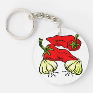 Hot Chili Pepper and Onion Graphic Double-Sided Round Acrylic Keychain