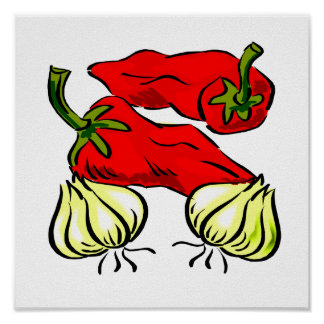Hot Chili Pepper and Onion Graphic Poster