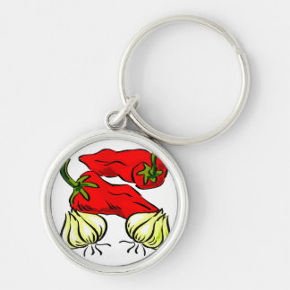 Hot Chili Pepper and Onion Graphic Silver-Colored Round Key Ring